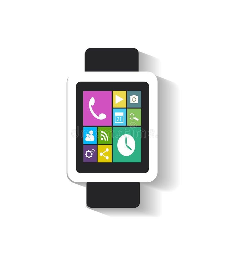 Slim horloge met de zwarte van appspictogrammen royalty-vrije illustratie