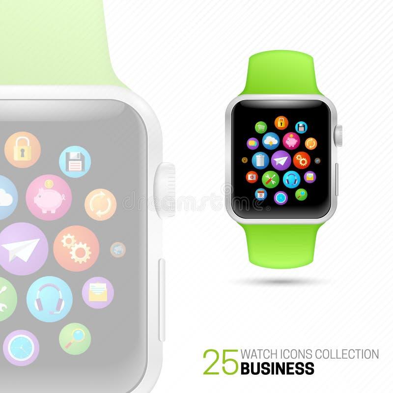 Slim horloge met groene manchet stock illustratie