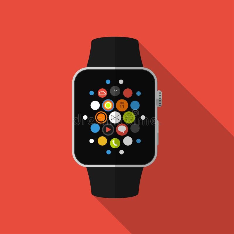 Slim horloge met pictogrammen, concept Vlak Ontwerp vector illustratie
