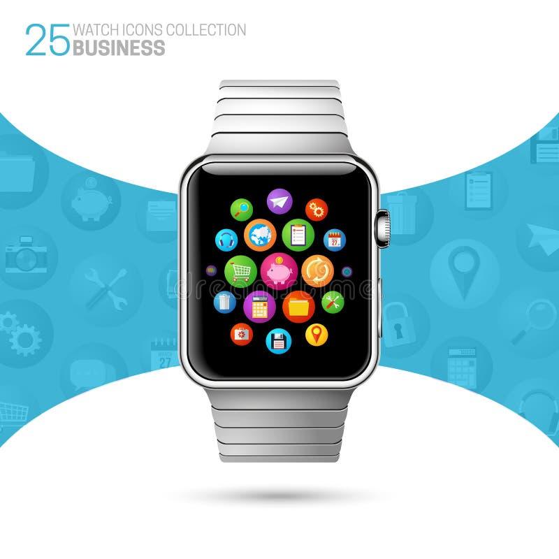Slim horloge met roestvrije manchet vector illustratie