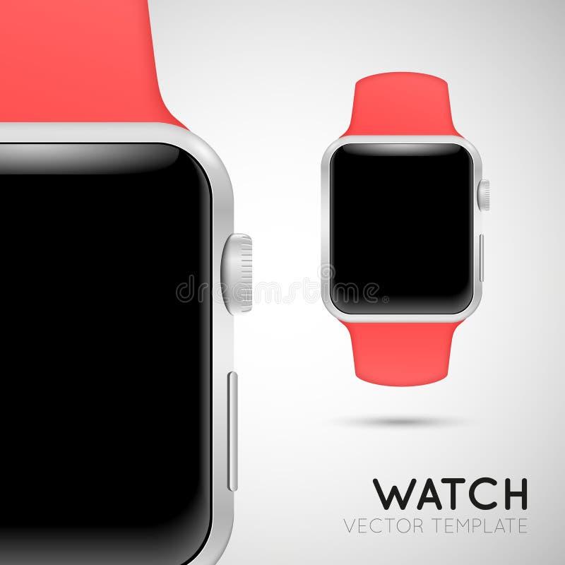 Slim horloge met roze manchet royalty-vrije illustratie