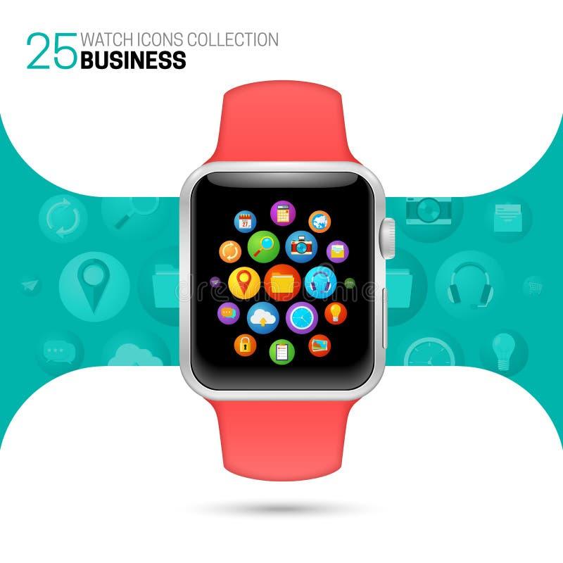 Slim horloge met roze manchet stock illustratie