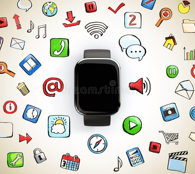 Slim horloge met sociale media pictogrammen stock illustratie