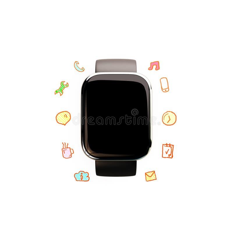 Slim horloge met sociale media pictogrammen royalty-vrije illustratie