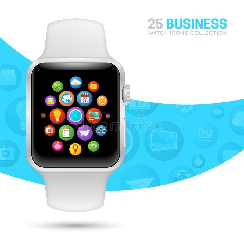 Slim horloge met witte manchet stock illustratie