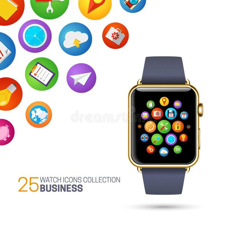 Slim horloge met zwarte manchet vector illustratie