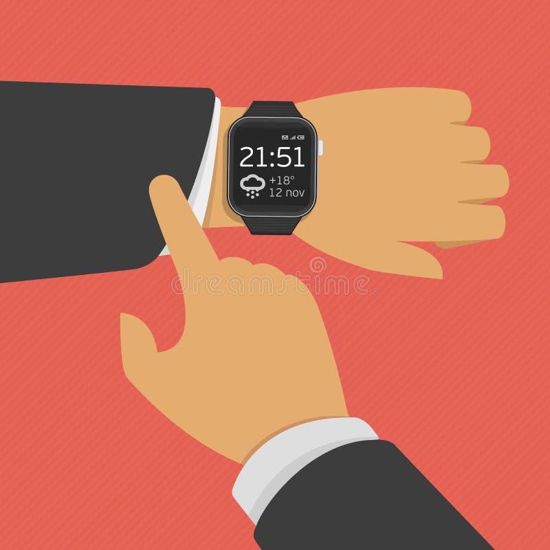 Slim horloge op de hand vector illustratie