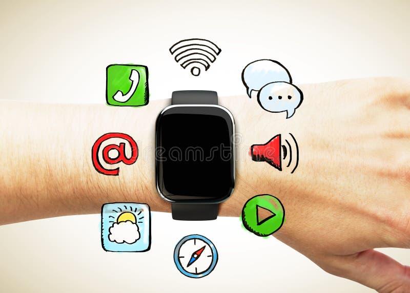 Slim horloge op de hand met sociale media pictogrammen stock illustratie