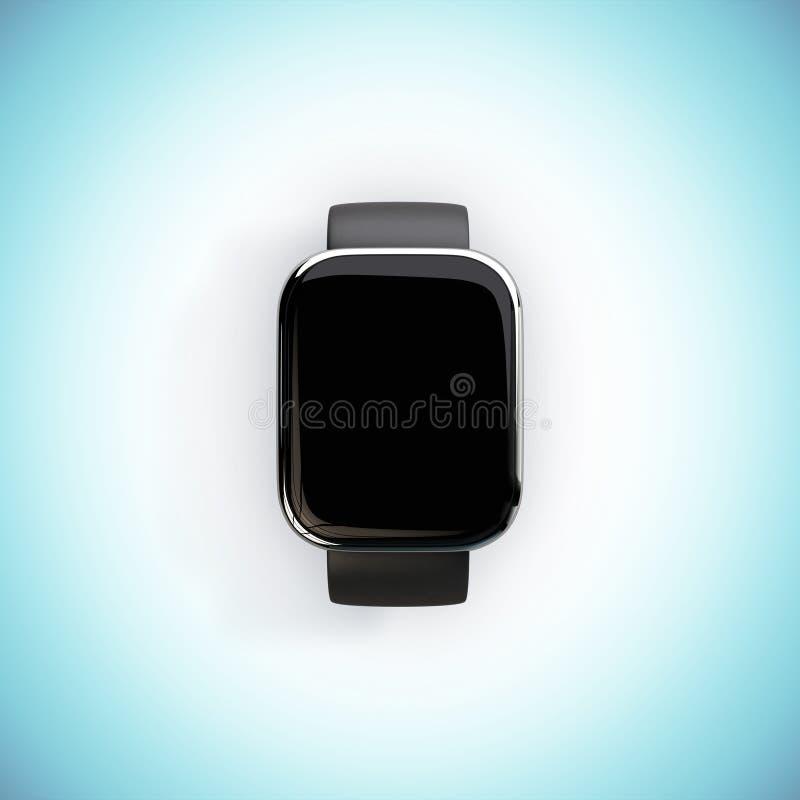 Slim horloge op een blauwe achtergrond royalty-vrije illustratie