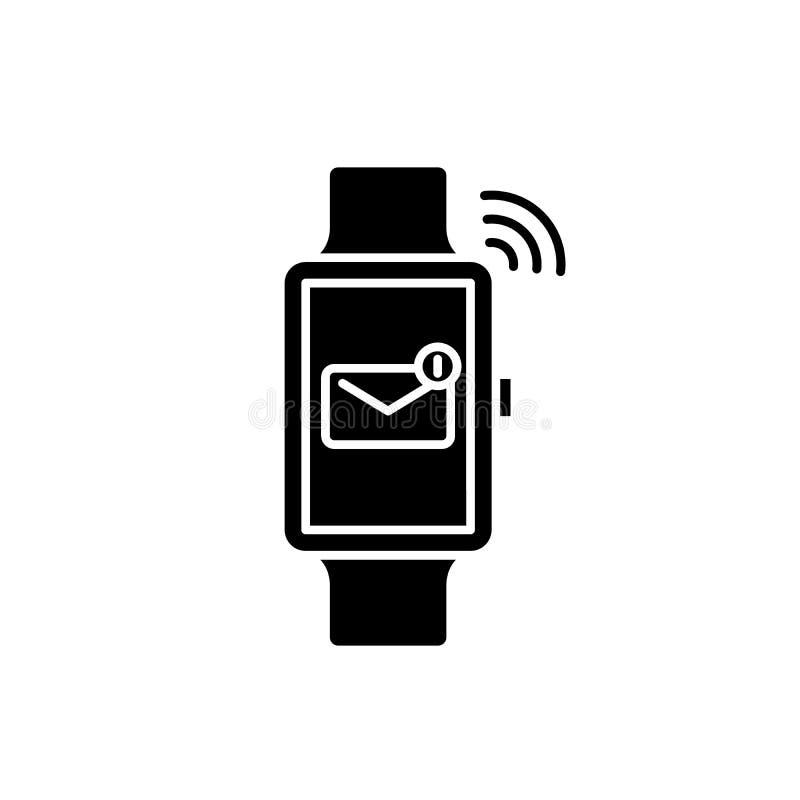Slim horloge zwart pictogram, vectorteken op geïsoleerde achtergrond Het slimme symbool van het horlogeconcept, illustratie stock illustratie