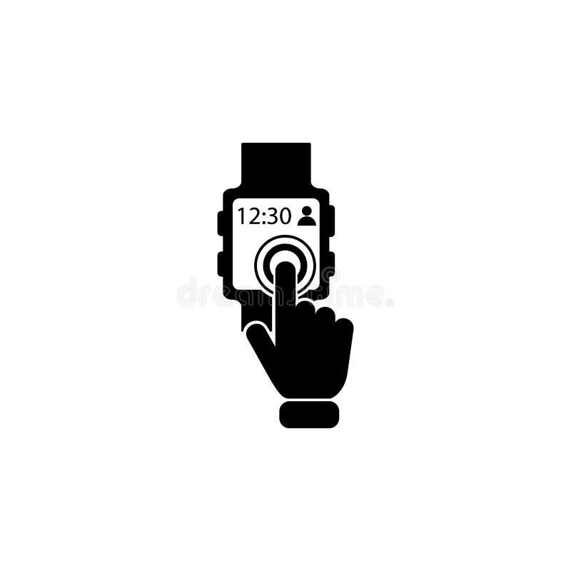 Slim Horlogeconcept op het pictogram van het aanrakingsscherm Element van de technologiepictogram van het aanrakingsscherm Grafis stock illustratie