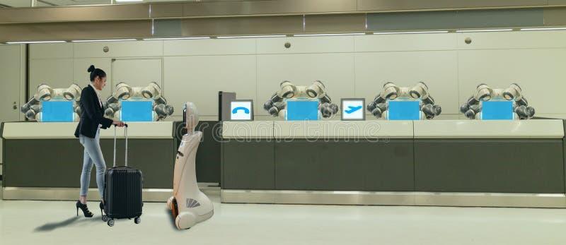 Slim hotel in de gastvrijheidsindustrie 4 concept 0, de de robotmedewerker van de receptionnistrobot in hal van hotel of luchthav stock afbeeldingen