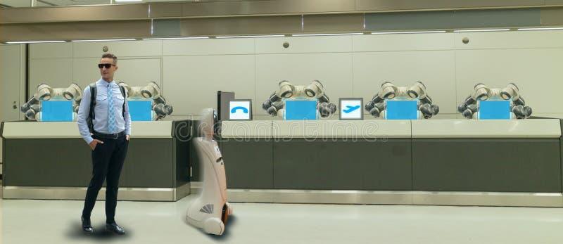Slim hotel in de gastvrijheidsindustrie 4 concept 0, de de robotmedewerker van de receptionnistrobot in hal van hotel of luchthav stock afbeelding