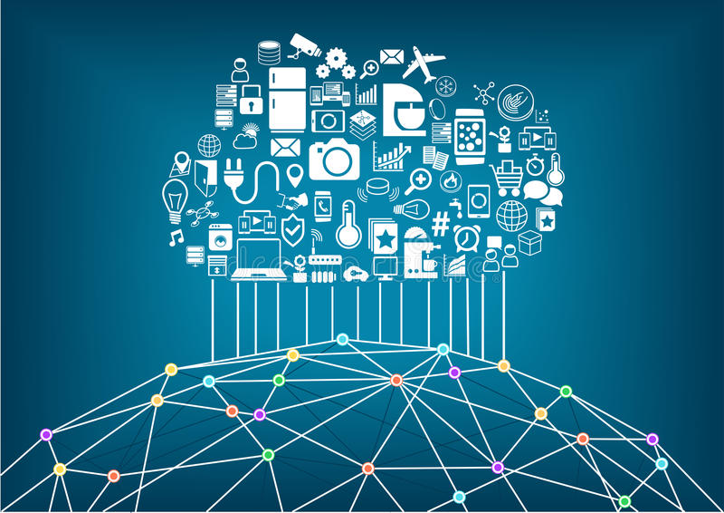 Slim huis en Internet van dingenconcept Wolk die globale draadloze apparaten aan elkaar gegevens verwerken aan te sluiten