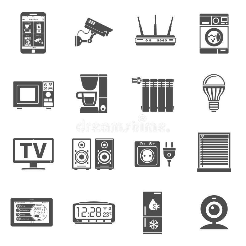 Slim Huis en Internet van geplaatste dingenpictogrammen royalty-vrije illustratie
