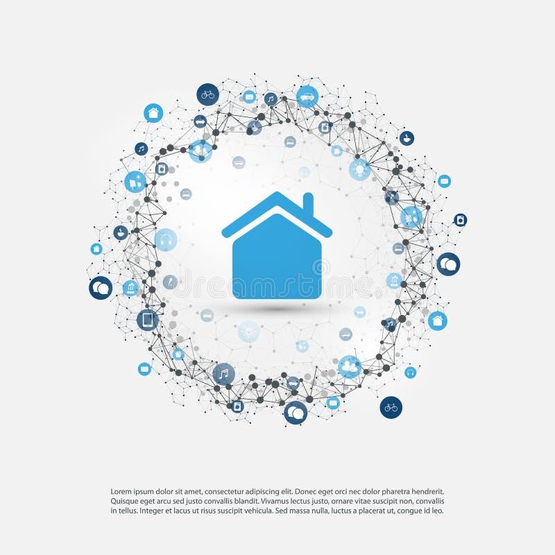 Slim Huis, Internet van Dingen of Wolk het Concept van het Gegevensverwerkingsontwerp met Pictogrammen - Digitaal Netwerkverbindi stock illustratie
