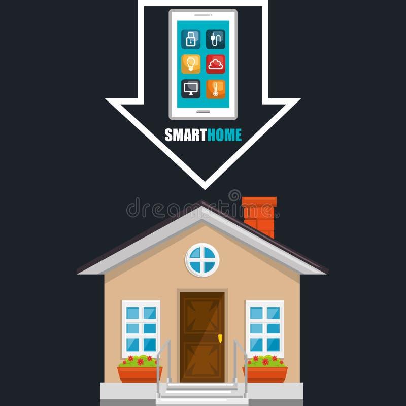 Slim huis met smartphone en vastgestelde de dienstenpictogrammen royalty-vrije illustratie
