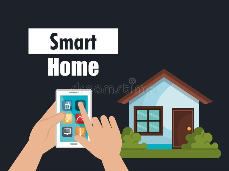 Slim huis met smartphone en vastgestelde de dienstenpictogrammen stock illustratie