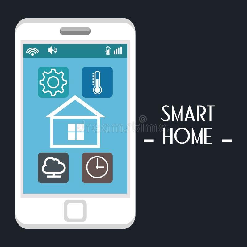 Slim huis met smartphone en vastgestelde de dienstenpictogrammen vector illustratie