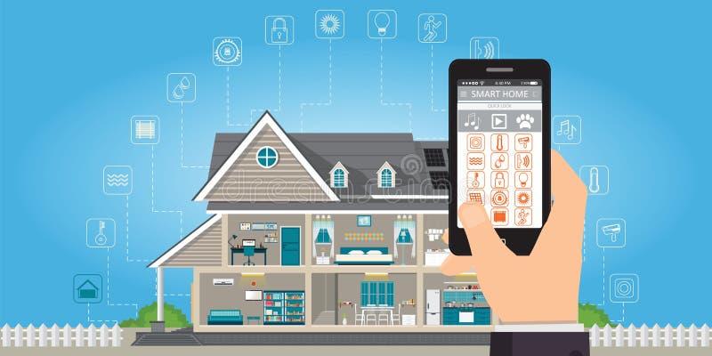 Slim huis met smartphone van de handholding royalty-vrije illustratie