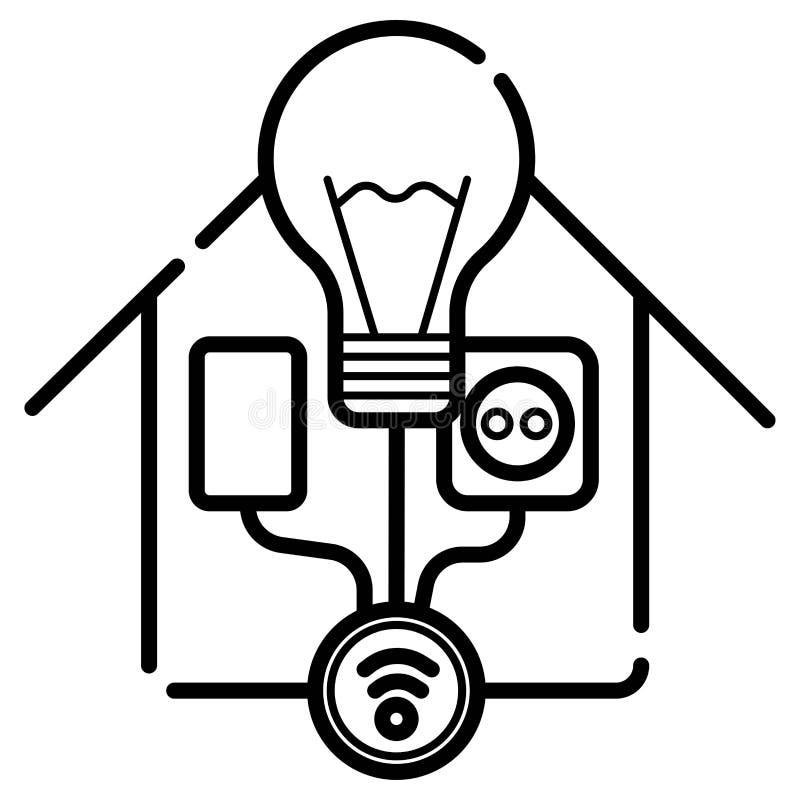 Slim huispictogram, draadloos huis stock illustratie