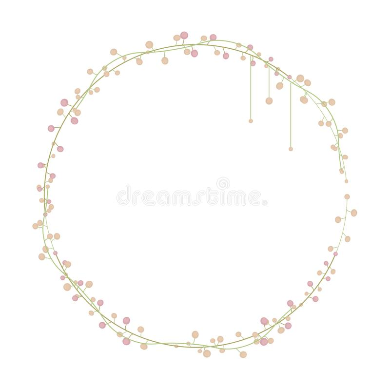 Slim intertwined graceful green floral wreath with light peach and pink two-colored balls object isolated on white background. vector illustration