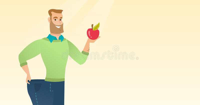 Slim man in pants showing results of his diet. stock illustration