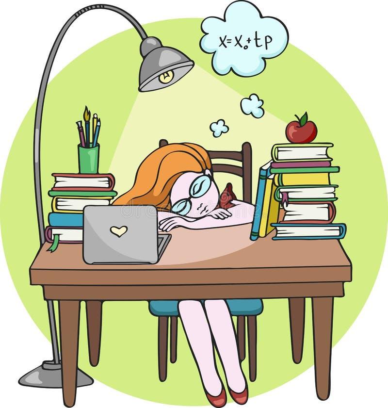 Slim meisje die bij nachtslaap bestuderen op het bureau met boeken - Vectorillustratie royalty-vrije illustratie