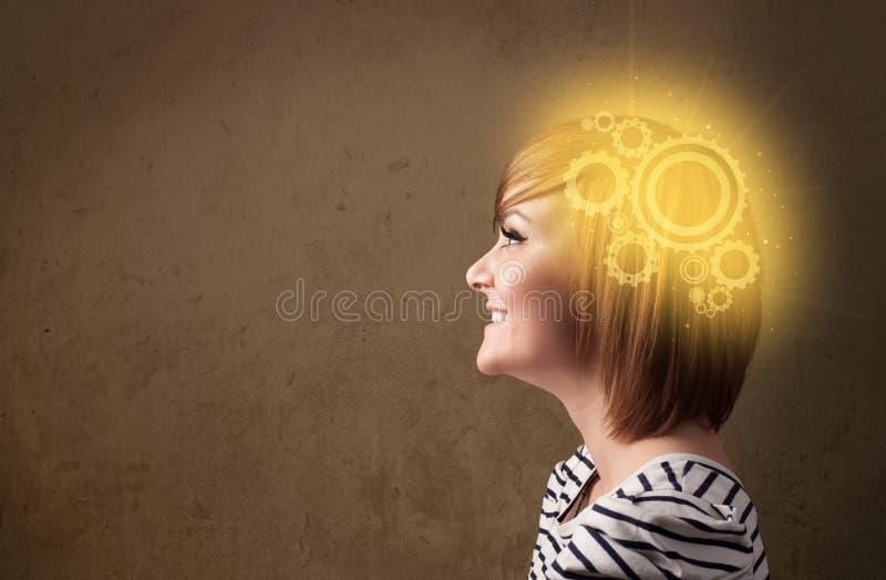 Slim meisje die met een machine hoofdillustratie denken stock fotografie