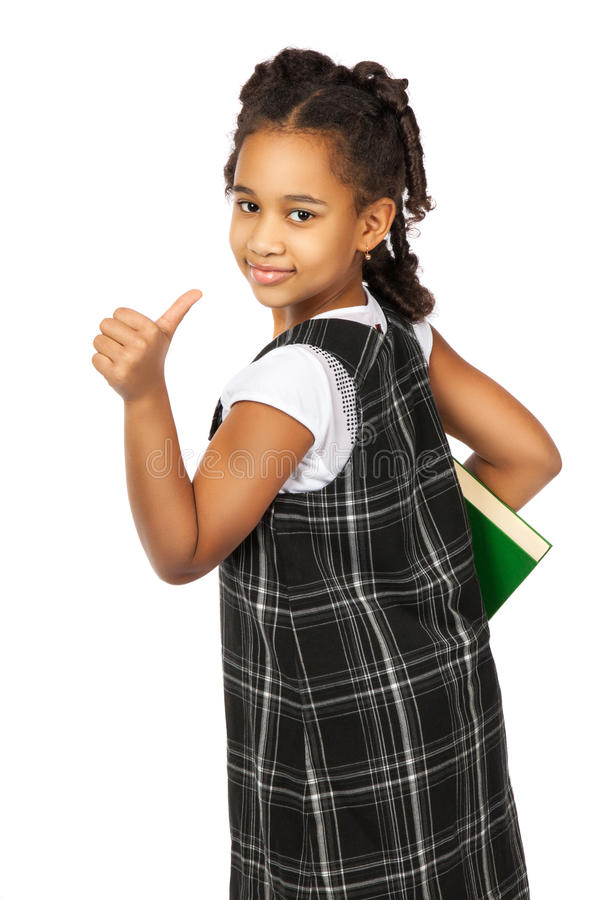Slim meisje met groot groen boek stock afbeelding