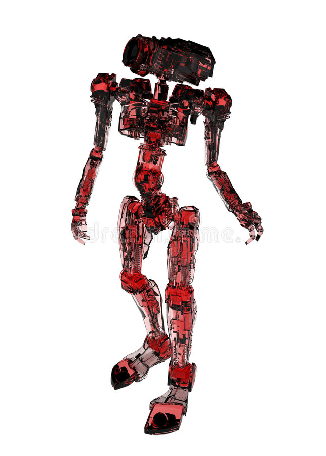 Slim Robot, Red Glass stock illustration