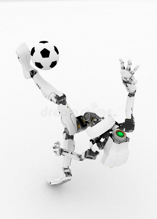 Slim Robot, Soccer Ball royalty free illustration