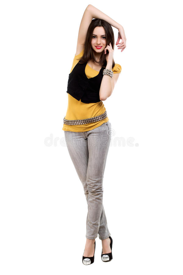 Slim smiling brunette stock photography