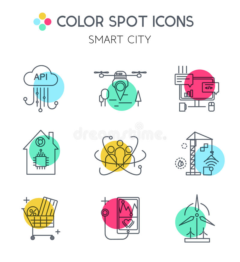 Slim stad en Internet van de pictogrammen van de dingenlijn royalty-vrije illustratie