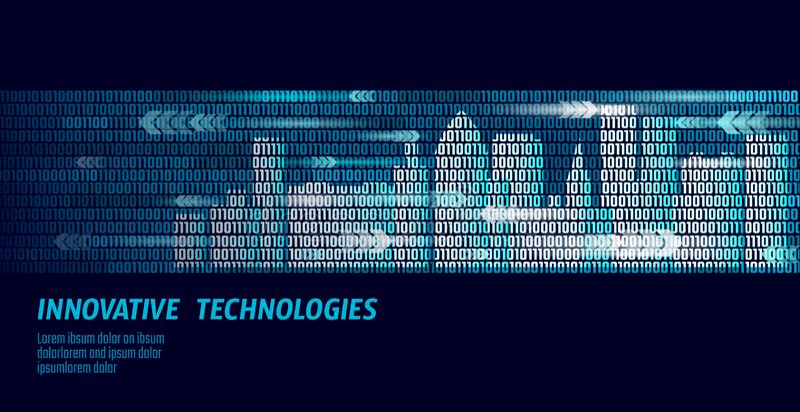 Slim stad intelligent het systeem van de de bedrijfs bouwautomatisering concept De binaire stroom van codenummergegevens Stedelij vector illustratie