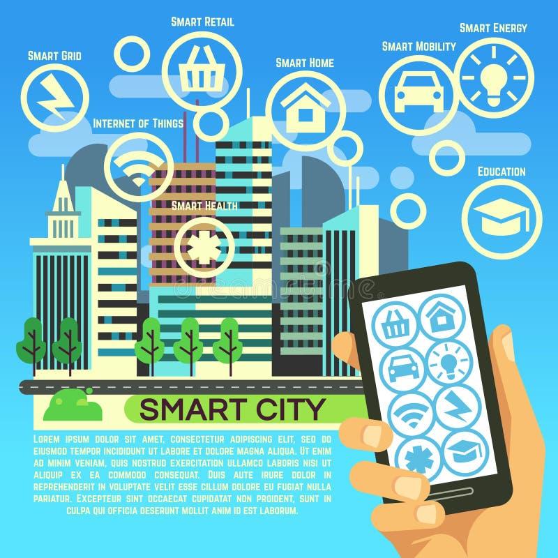 Slim stads vector vlak concept met Internet-ding, bedrijfsmededeling en technologiepictogrammen vector illustratie
