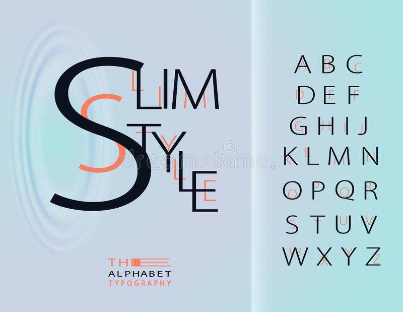 `Slim Style` Vector of modern bold font and alphabet, typeface, abstract letters typography.Exclusive Letters Typography stock illustration