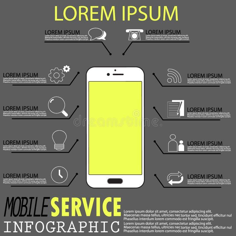 Slim telefoon en de dienstteken royalty-vrije illustratie