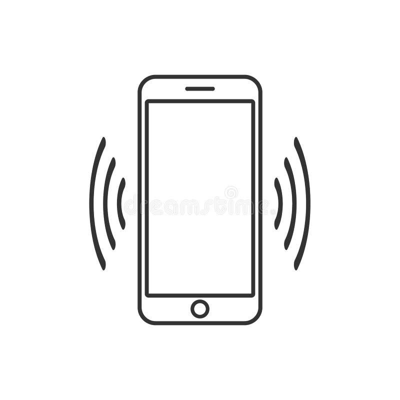 Slim telefoon trillend pictogram Modern minimalistisch mobiel app ui vlak eenvoudig pictogram Vector vector illustratie