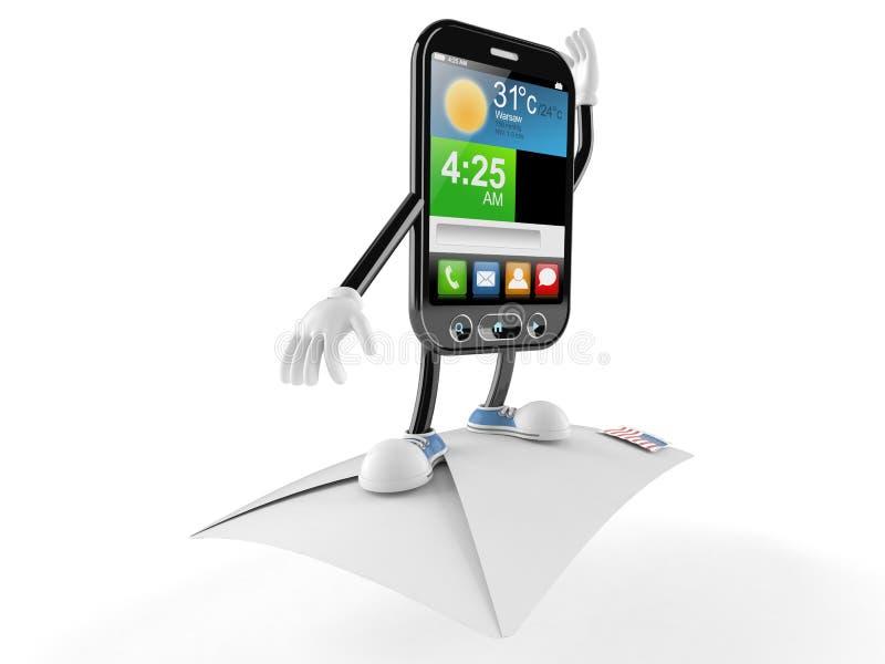 Slim telefoonkarakter met envelop stock illustratie