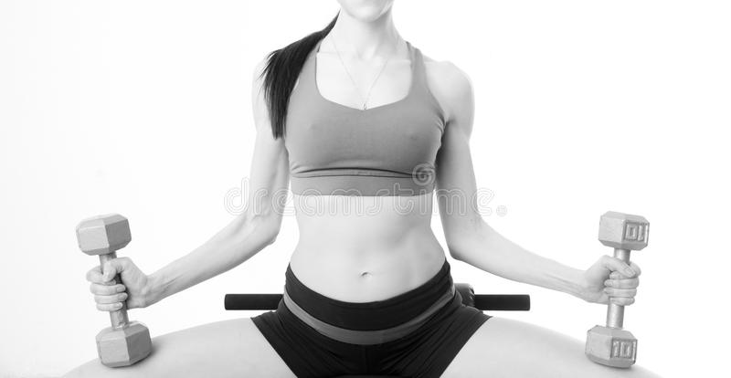 Download Slim Trim Female Torso Holds Barbells While Bench Weight Stock Photo - Image: 34487102