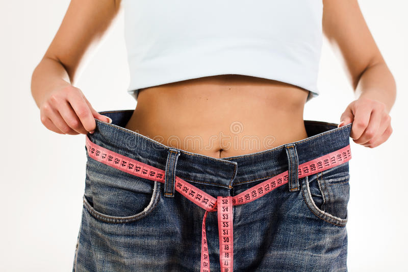 Slim Waist Slimming Body Successful Diet royalty free stock photo