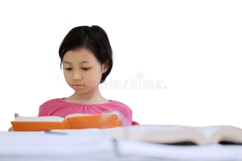 Slim weinig student die een boek op studio lezen stock fotografie
