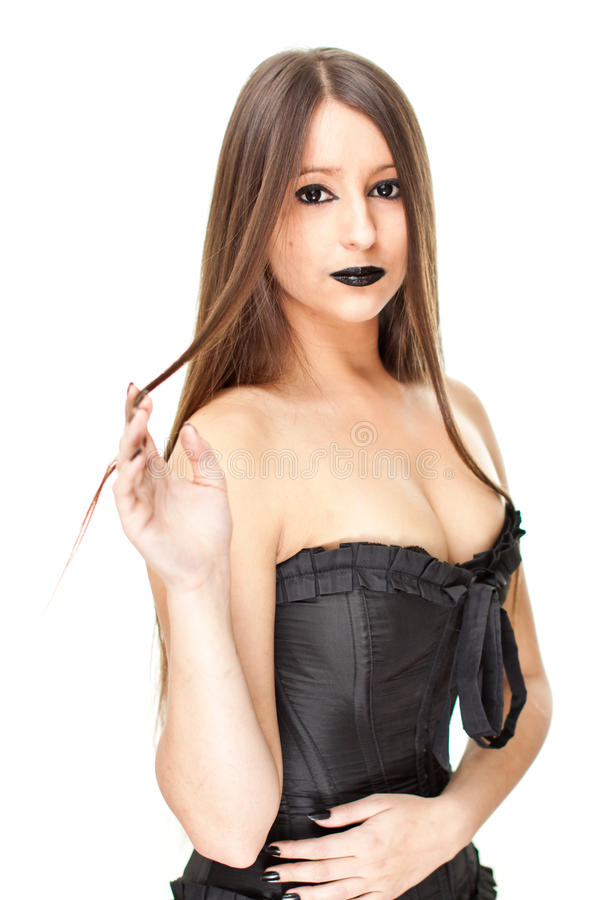 Slim Woman In Gothic Clothes Stock Photos