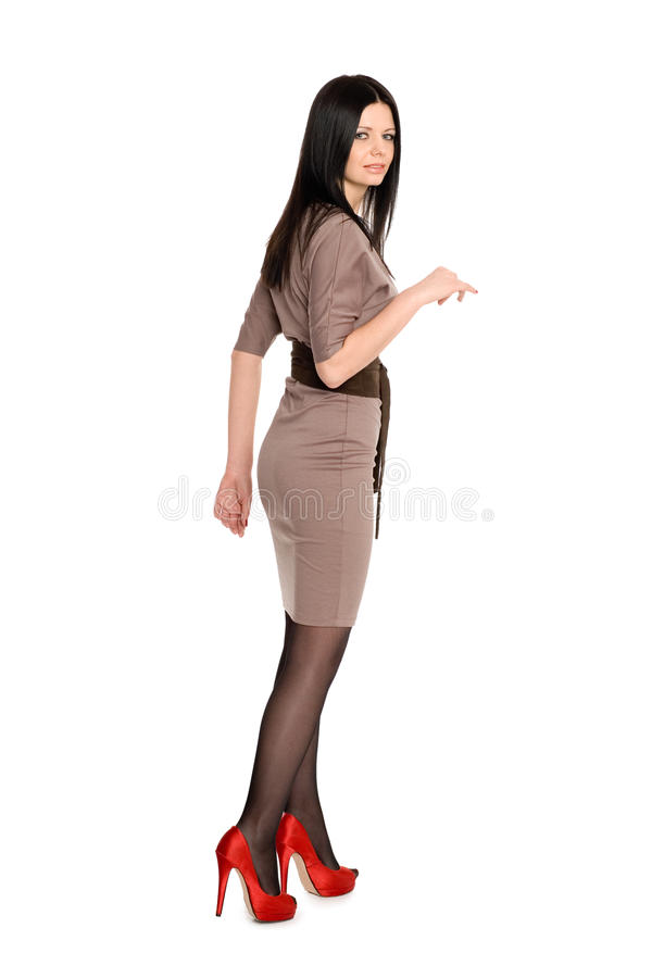 Download Slim young brunette stock photo. Image of dress, girl - 23927084