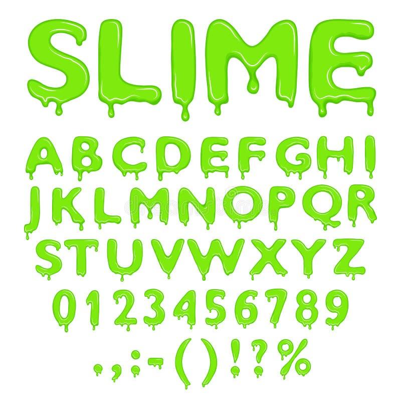 Slime alphabet numbers and symbols. Slime alphabet, numbers and symbols on white background stock illustration