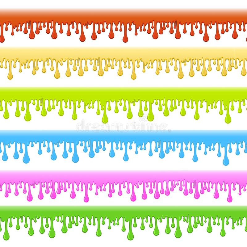 Slime colorful seamless borders stock illustration