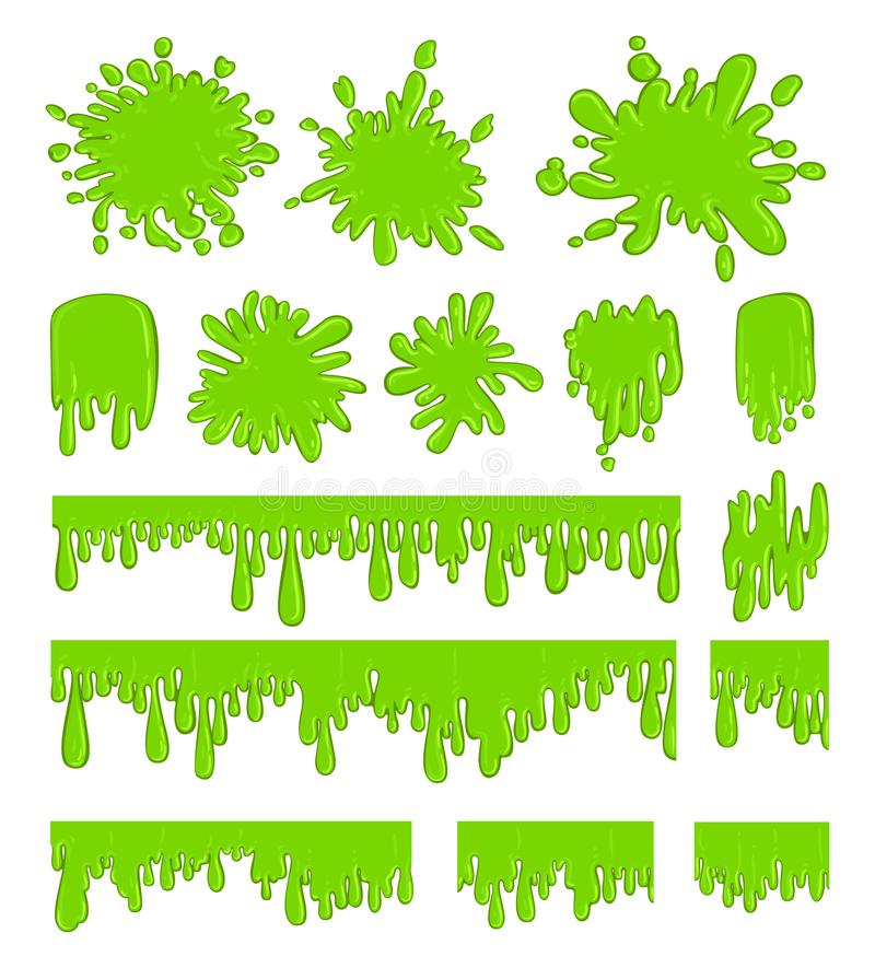 Slime green spot set. Splash drops in greenish color, liquid or paint blobs. Vector flat style cartoon illustration isolated on white background stock illustration