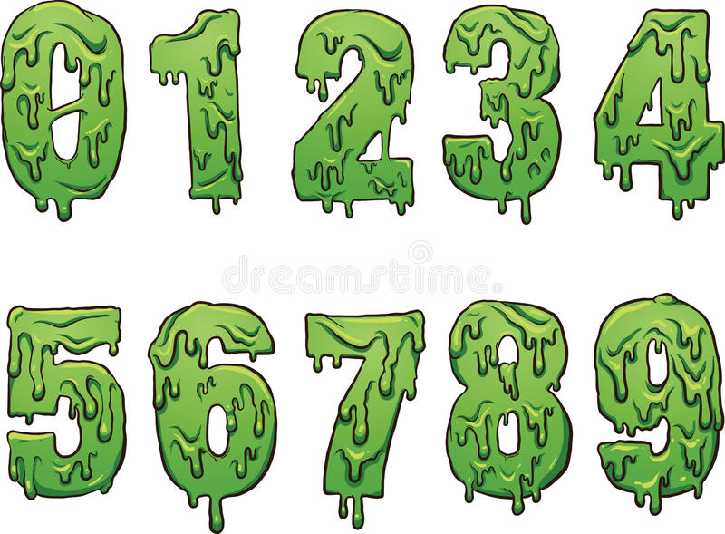 Slime numbers. Slime cartoon numbers. Vector clip art illustration with simple gradients. Each on a separate layer vector illustration