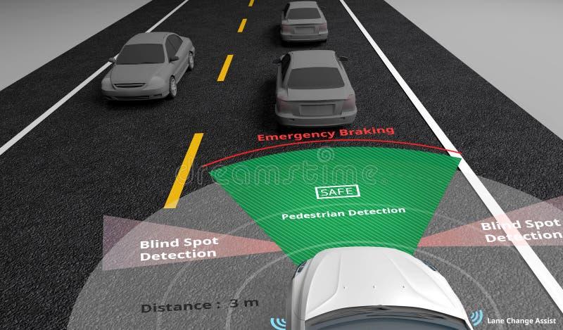 Slimme auto, Autonome zelf-drijft auto met Lidar, Radar en draadloze signaalmededeling, Kunstmatige intelligentietechnologie aan royalty-vrije illustratie